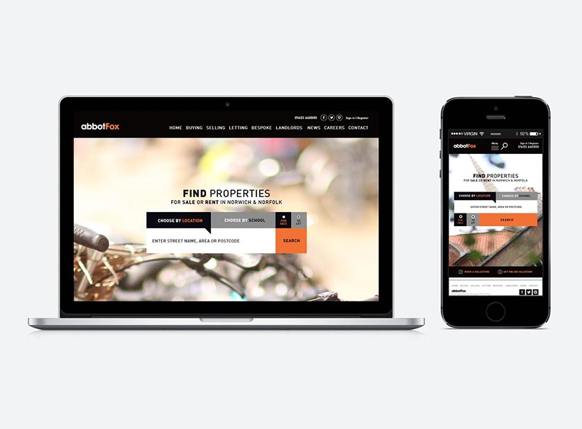 responsive web design norwich, website design norwich, design for websites, mobile design, estate agent, abbot fox , norwich design agency creative giant