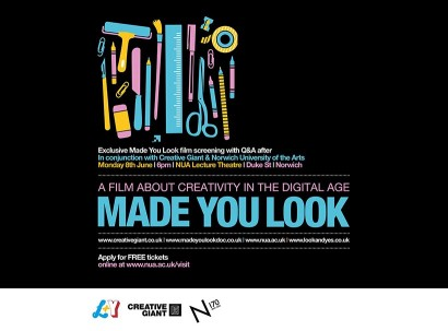 norwich design agency, graphic design, film screening, made you look, look and yes, nua