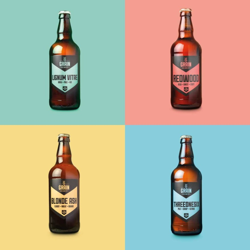 Grain Brewery branding and visual identity, beer bottle label design, packaging, redwood beer, blonde ash, product photography, graphic design studio norwich, creative design agency
