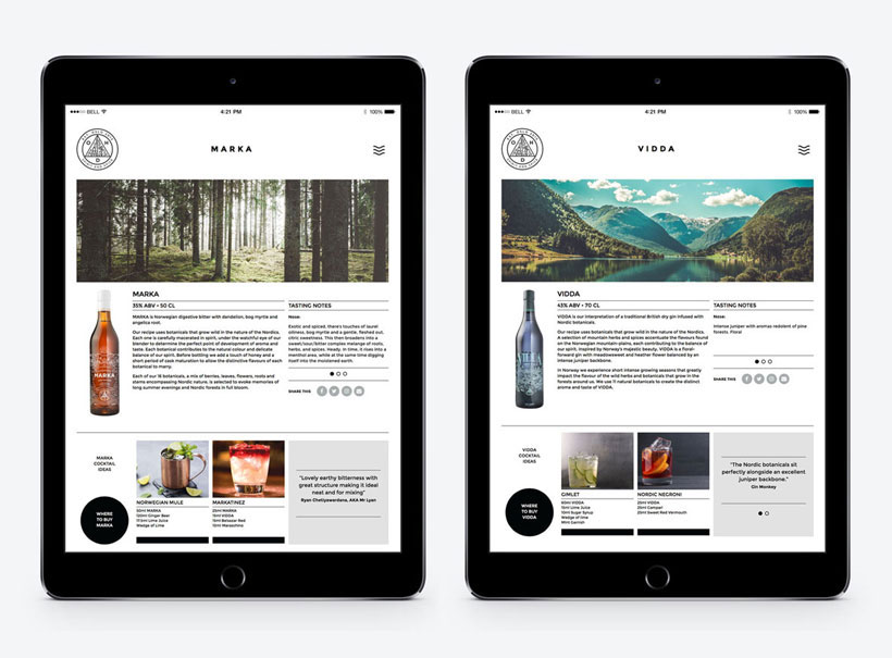 website design, norwich, responsive, ipad screens, vidda gin, marka bitters, ohd, oslo distillery, design for drinks industry, spirits business, creative agency, norwich, norwich design agency