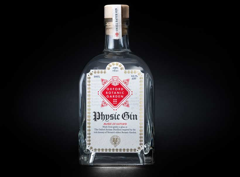gin label design, Oxford Physic Gin, botanic gardens oxford, food and drink sector branding, spirits industry